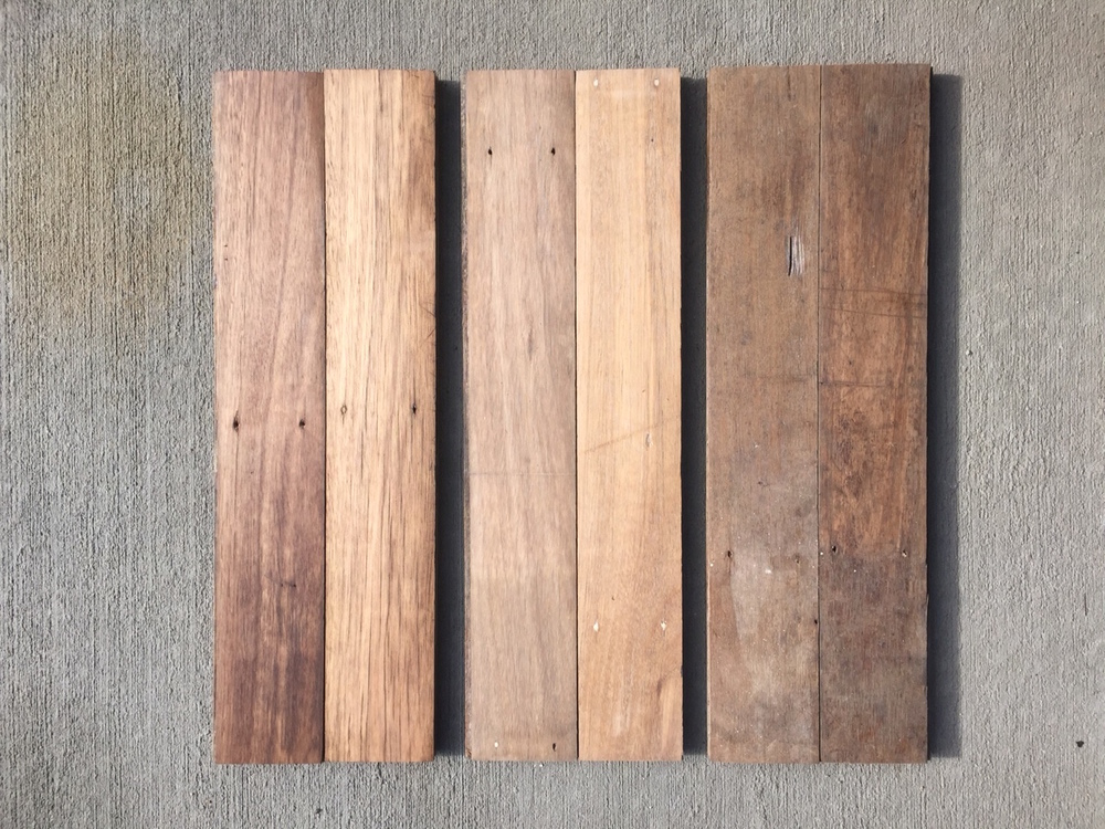 Blackbutt floor boards salvaged from the RAFF Richmond Base in original condition and two different sanding / finish levels.