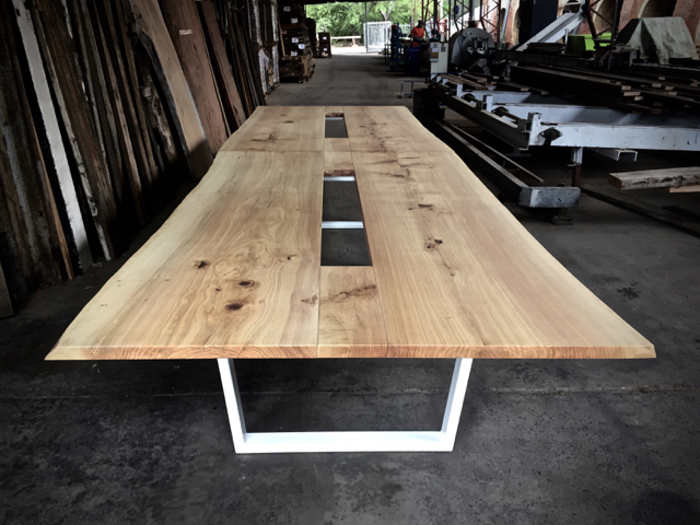 Boardroom table custom built for the new Sydney Twitter Offices using White Oak salvaged from Canberra street trees and a steel base. Awaiting installation of central data and electrical ports.