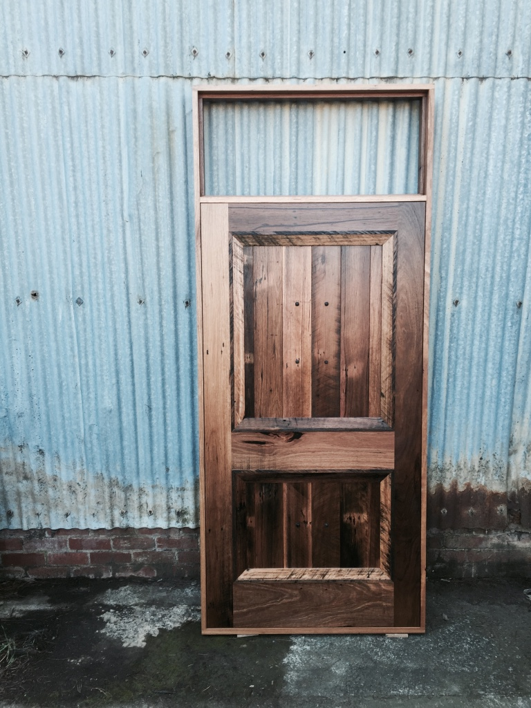 Colonial style entry door and jamb constructed in recycled Blackbutt ready for installation!