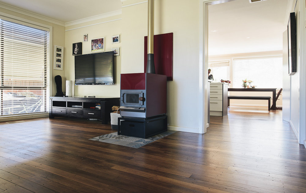 An example of a recently laid, salvaged Blackbutt floor finished with Osmo.