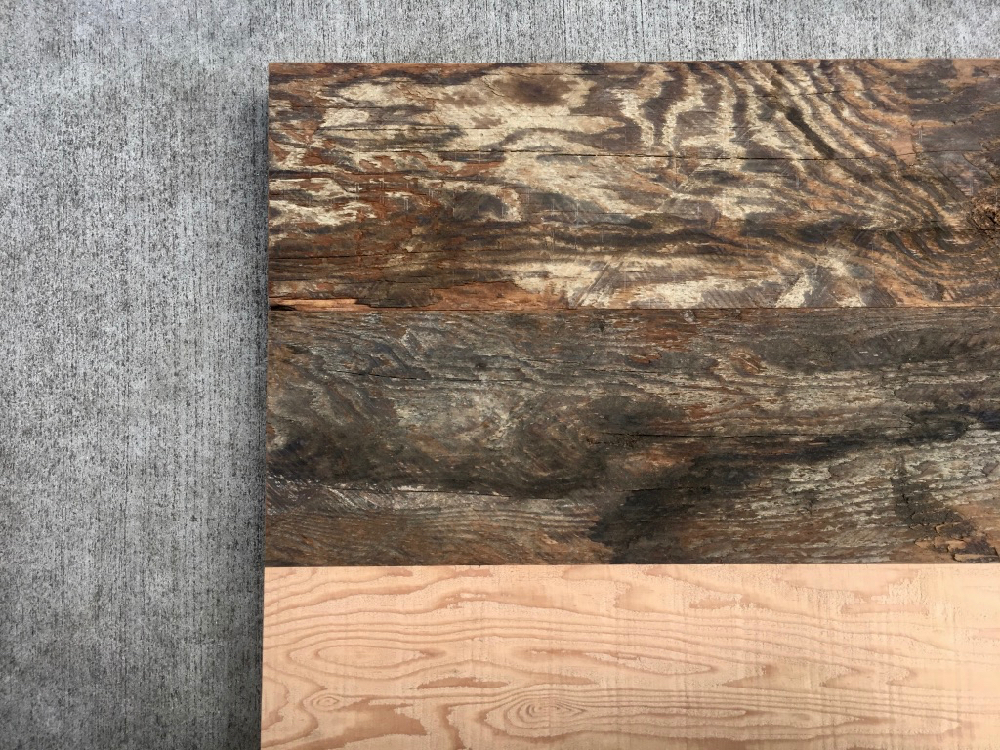 Samples of our rough sawn face cladding, and our new sawn face.