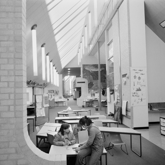 Clockwise from top left— The White Eagle Club, Lyneham, Giralang Primary (photo: Tim Ross), interior of Giralang Primary School, 1975, The  Polyhedrica  chair in production at Thor's Hammer.