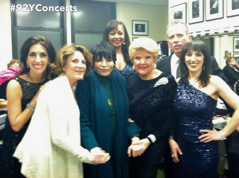 From left to right: Barbara Fasano, Linda Lavin, Liza Minelli, La Tanya Hall, Marilyn Maye, Billy Stritch, Gabrielle Stravelli