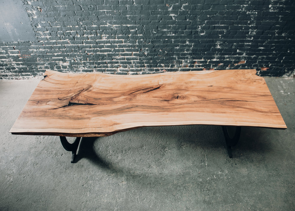 9' Beech live edge slab table with omega cast iron legs -