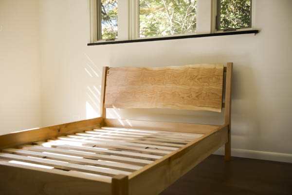 Slab headboard and solid wood bed frame with hardwood slats. - Available King, Queen, full or twin and a variety of material choices.