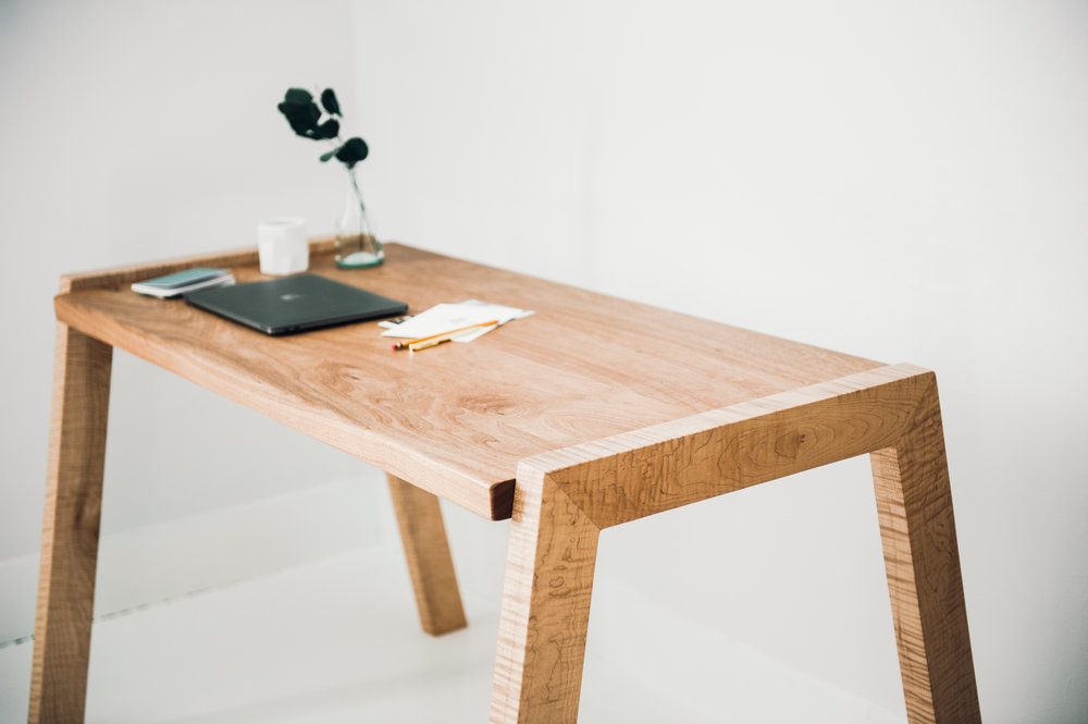 Mels Desk is available in a variety of wood choices and sizes. -