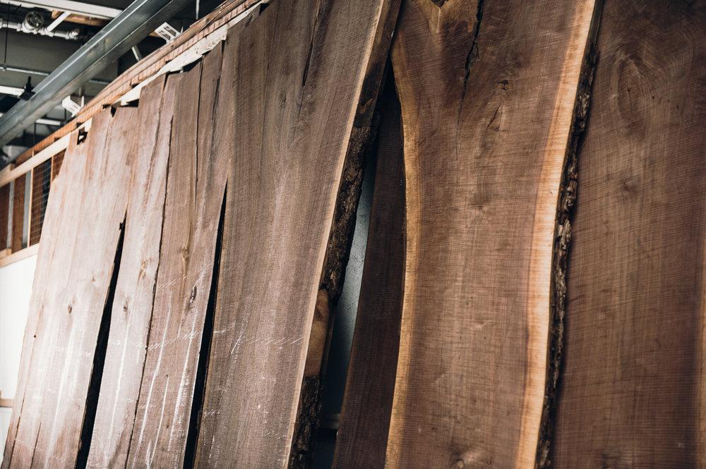 Live edge slabs - Walnut, Butternut, Maple, Ash, Oak, and Cherry