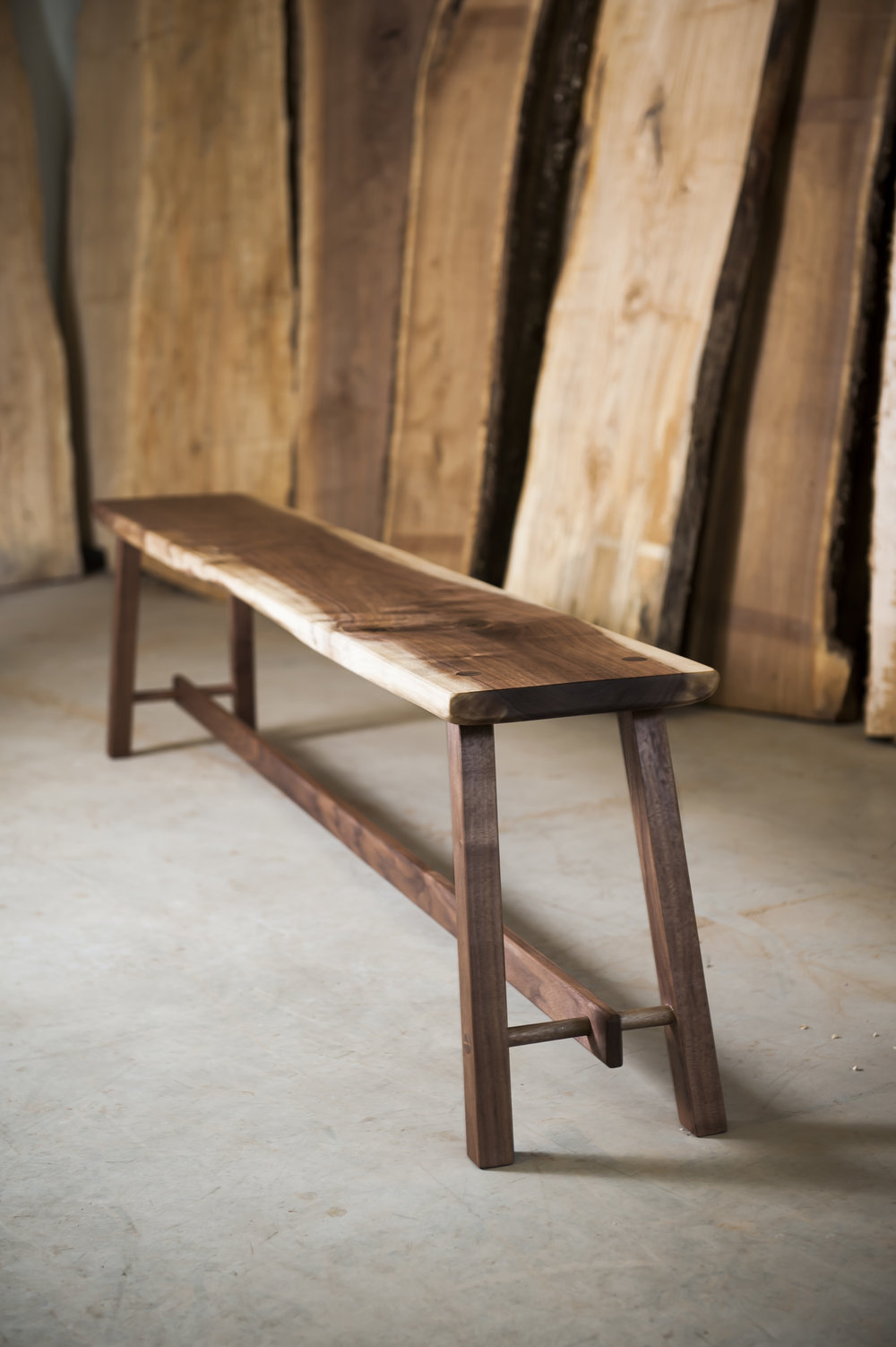 Modern Walnut Bench