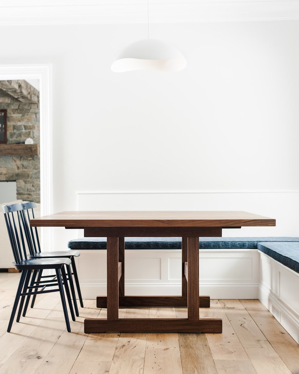 Square Walnut Table with trestle base for Breakfast nook