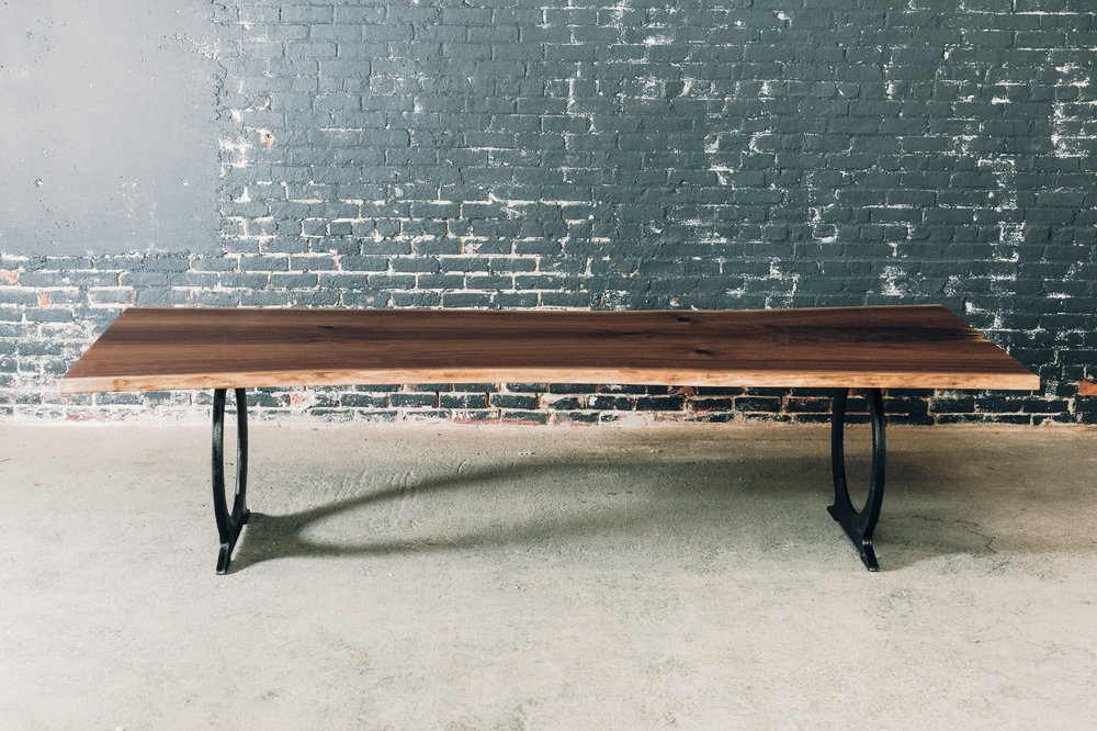 10' Live Edge Bookmatched Black Walnut Slab Table with Black Omega Cast Iron Base (Sold*)