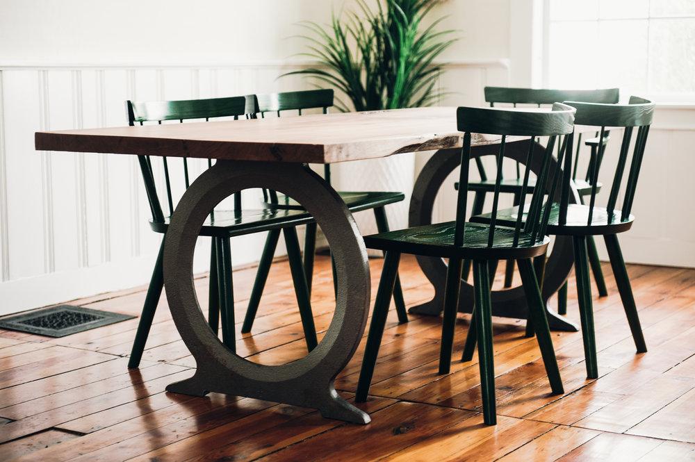 Slab Table with Omega Cast Iron Base