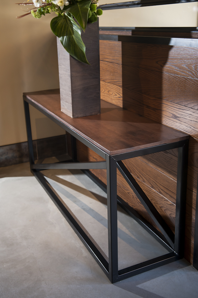 Wood and Steel Hall Table