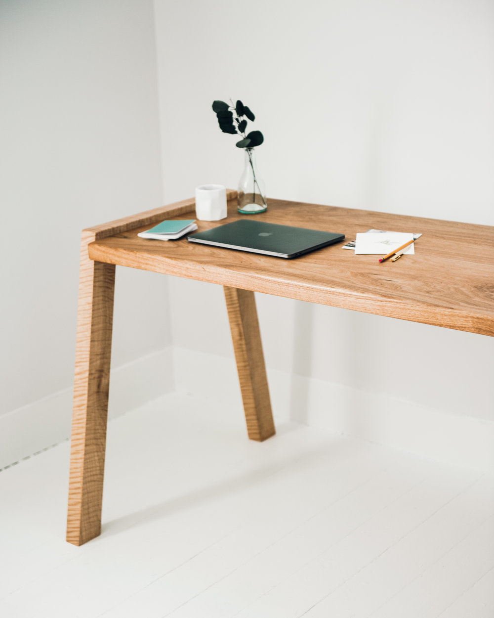 Mels Desk in Butternut and Curly Maple