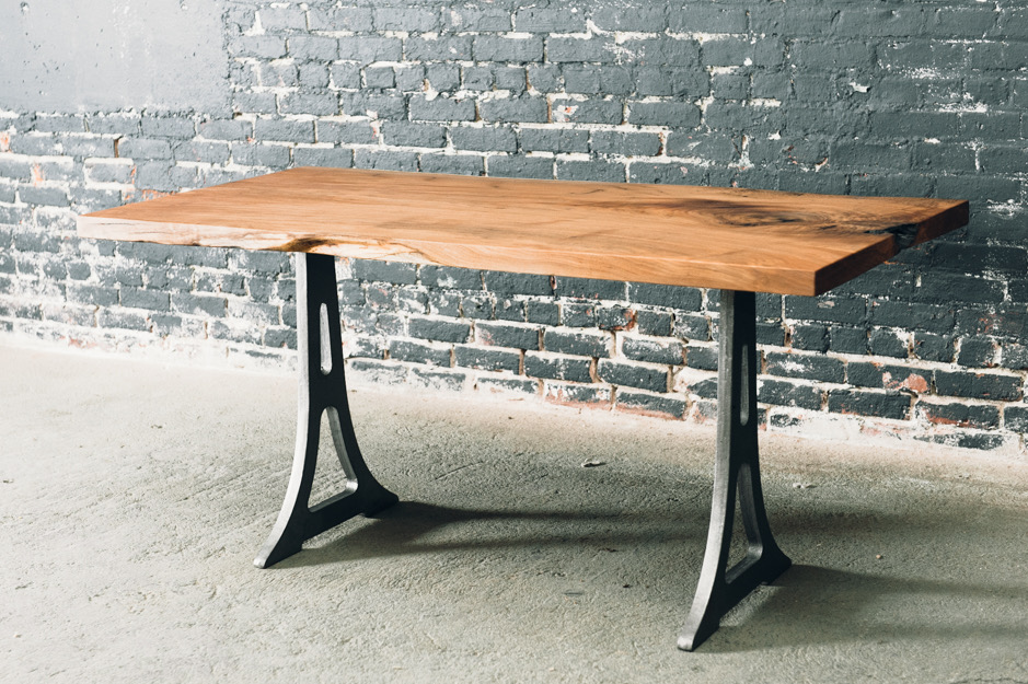 "5' x 30"" Butternut Table with Cast Iron Base (Available in Showroom)"