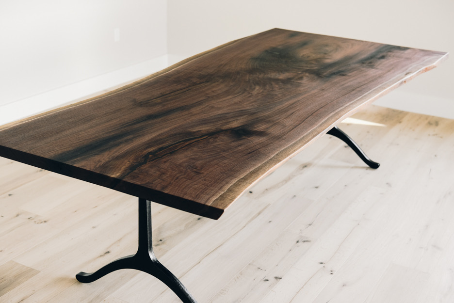 "9' Long x 48"" Wide Single Slab Walnut Table with iron stains and black cast iron base"