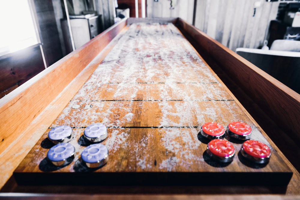 Cherry Shuffleboard Table with Cast Iron Base