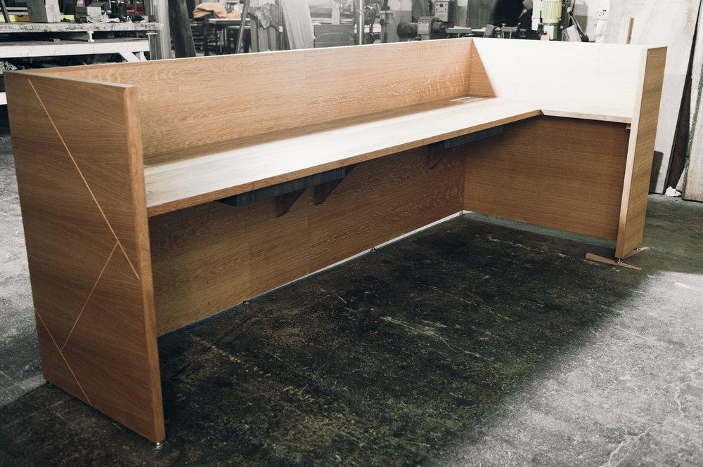 White oak reception desk