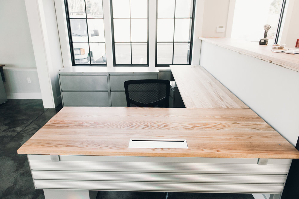 L Shaped modern desk with solid wood top
