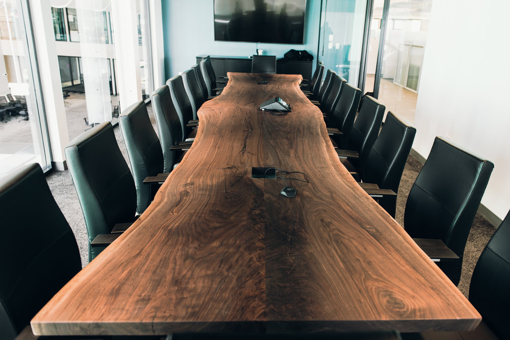Long walnut conference table