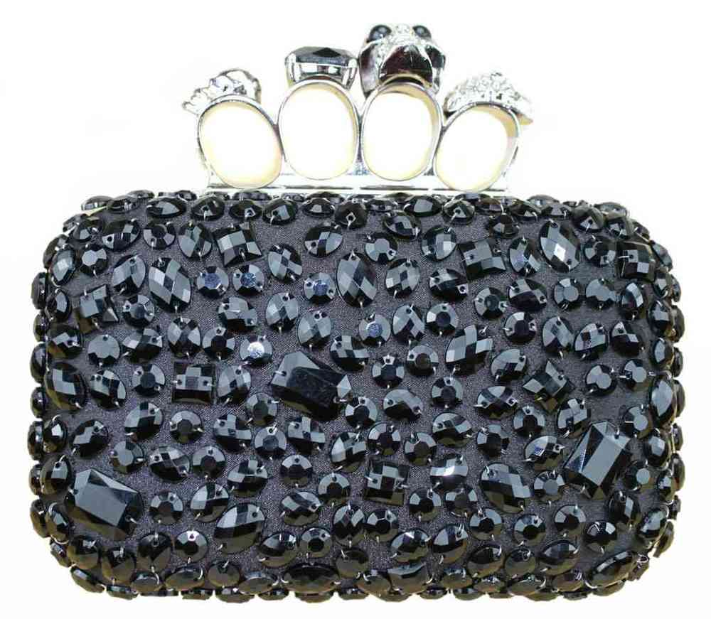 black beaded skull knuckles clutch