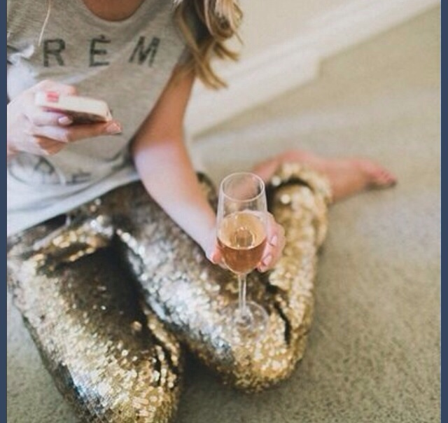 sequin pants and champagne