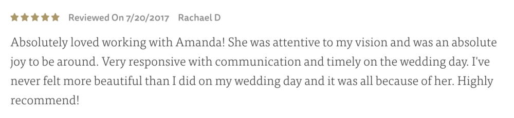 rachael's review on the knot