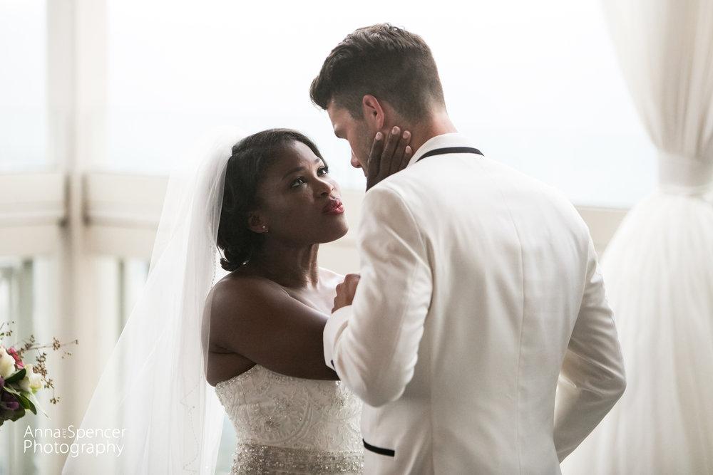 bride and groom gaze