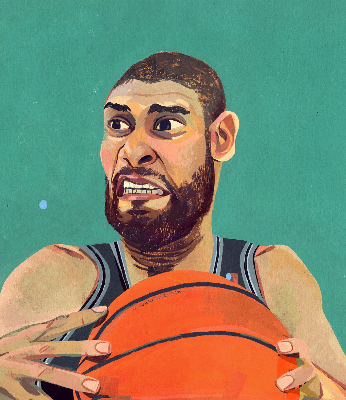 Happy NBA finals everybody! Here's a portrait of Tim Duncan, an unfinished painting for a zine. Gouache on paper    Excited to watch the series.