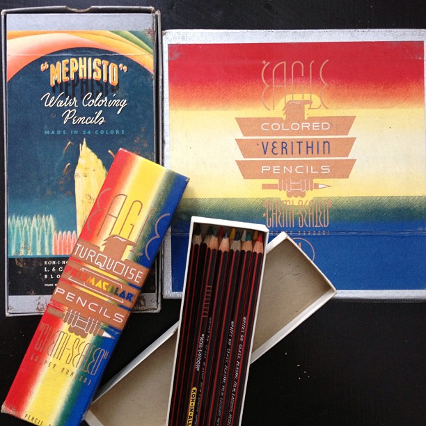 Amazing vintage colored pencil score at garage sale. Box dated 1936!