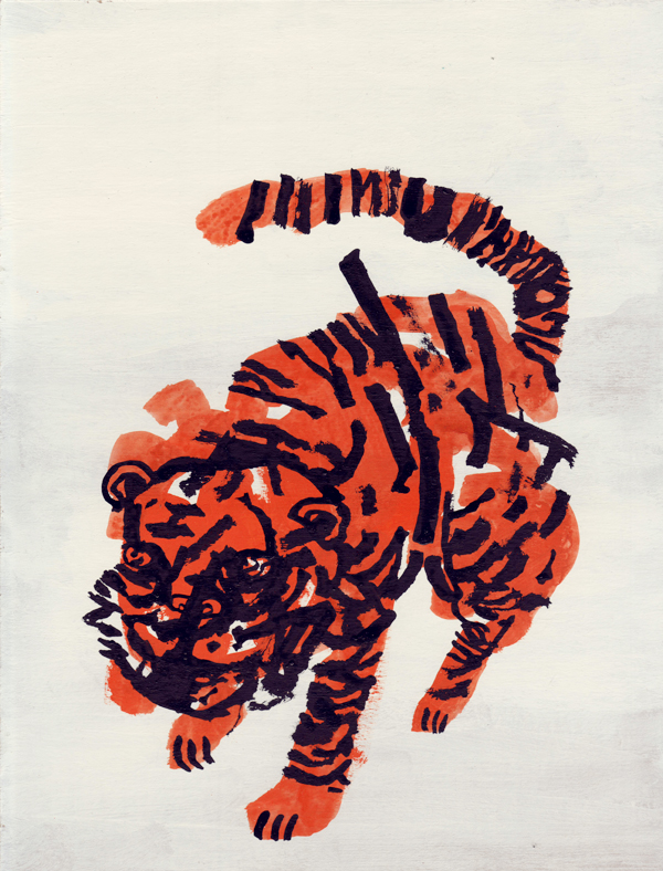 "This has such a great Ben Shahn feel to it, great work by Niv Bavarsky nivbavarsky: ""Tiger"" prints now available!! http://nivbavarsky.bigcartel.com/"