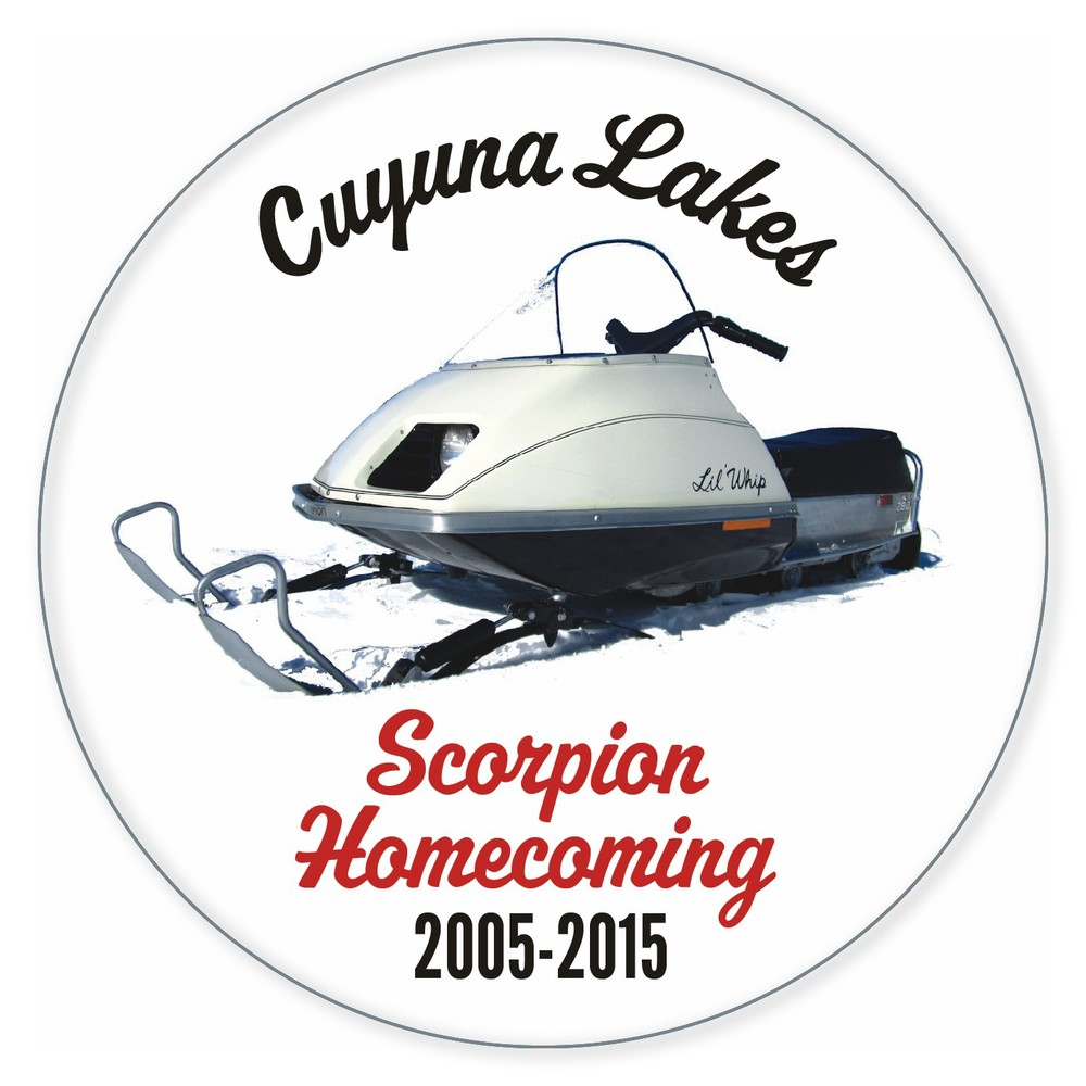 Support the event and the  Cuyuna Lakes Chamber of Commerce  by purchasing your official Scorpion Homecoming 2015 button at the on-ice warming tent ... celebrating this year's feature sled, the 1975-1979 Lil' Whip!  After eleven years, still only $3.00!