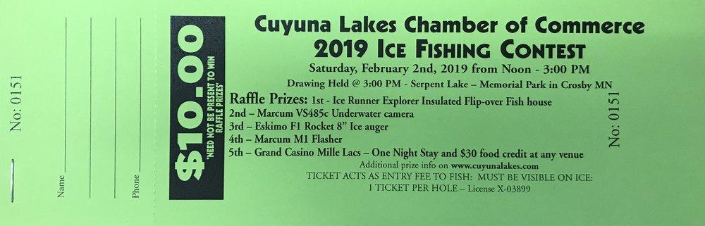 Sample Raffle Ticket - 2019 Ice Fishing Contest