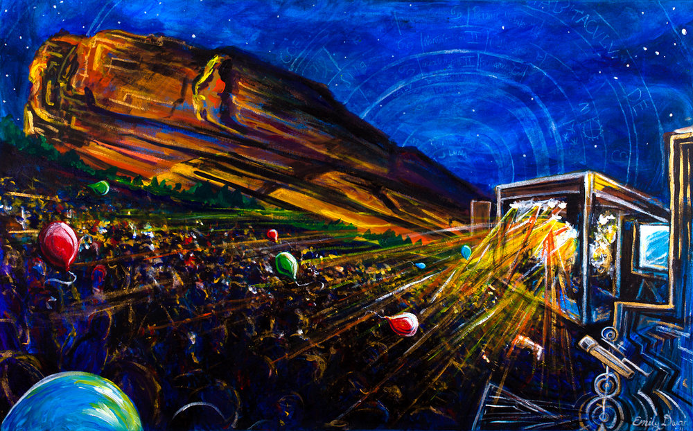Red Rocks painting paying homage to the stars with hidden imagery. Morrison, Colorado