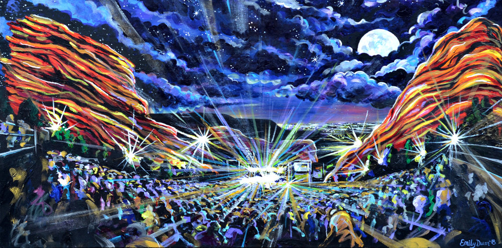 MOONSHINE ON THE ROCKS Red Rocks Amphitheater acrylic on canvas painting
