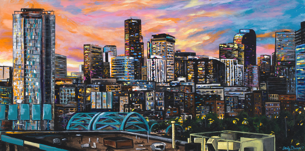 DENVER SKYLINE acrylic on canvas