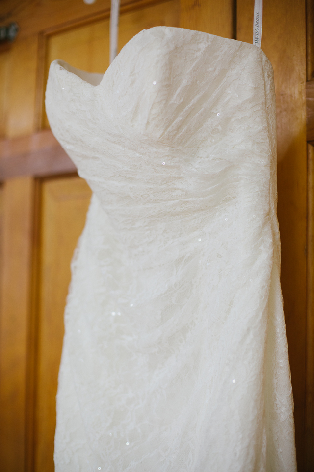 David's Bridal lace gown