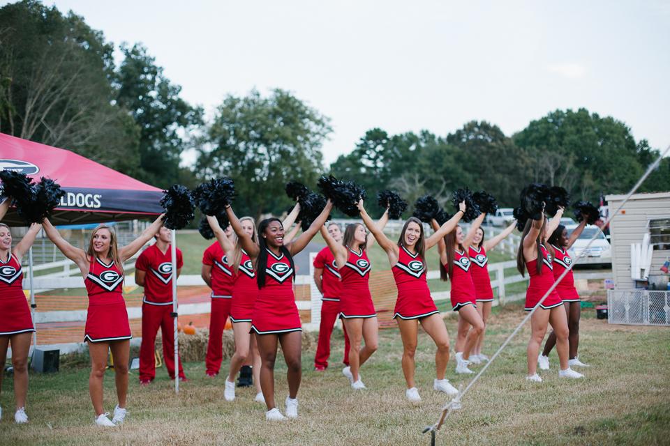 Athens Corn Maze UGA cheerleaders