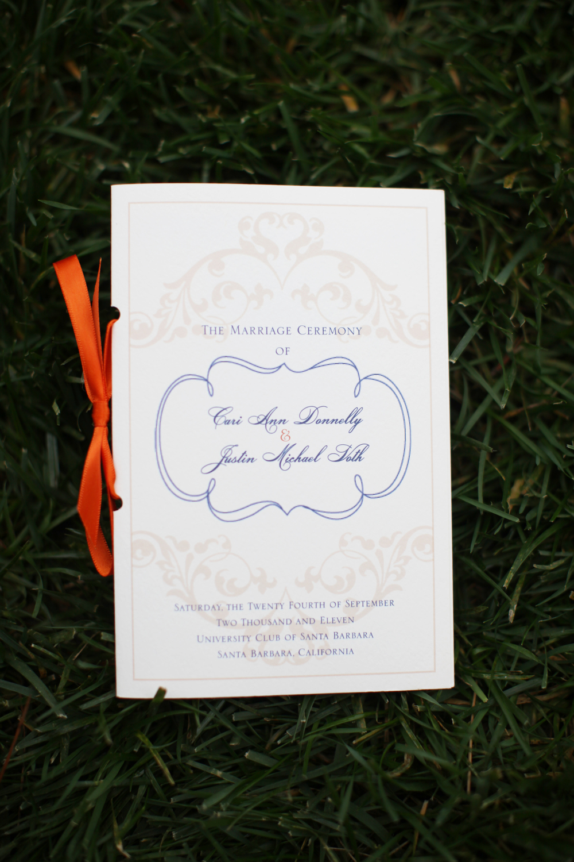 Ceremony Program - Navy, Ivory and Orange