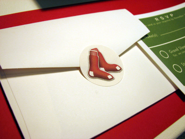 Closeup of the Boston Red Sox envelope seal