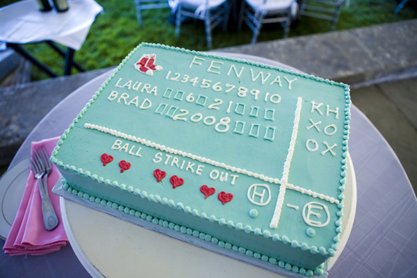 A great groom's cake depicting Fenway Park's scoreboard. In this case the score is the wedding date! Cake: Jenny's Cakes / Photo: Kristin Spencer