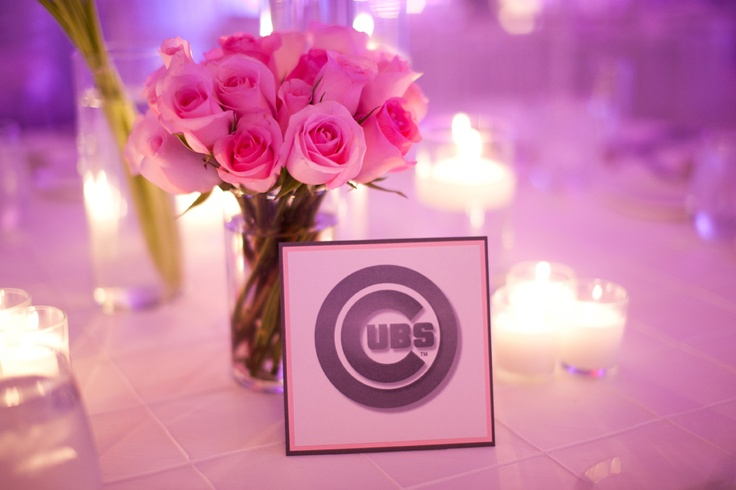Table Numbers for the Wedding Reception in pink, graphite and white. Tables were named after major league teams. Photo: Nikki Cole