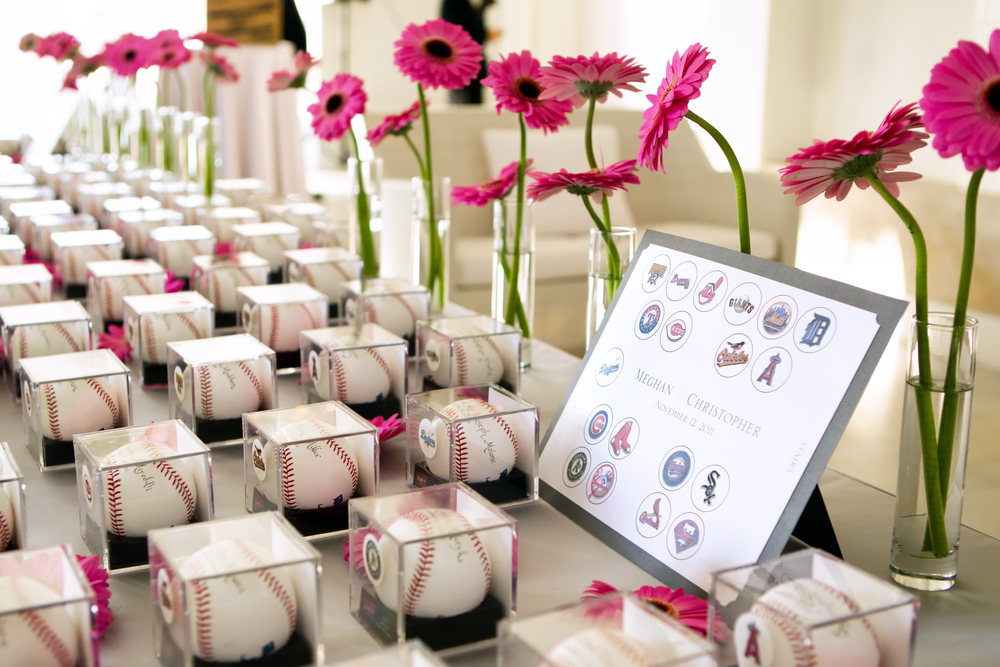 A Baseball Place Card! Each couple got a regulation baseball with their names in calligraphy! Photo: Nikki Cole