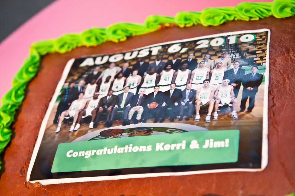 We photoshopped the groom into this team photo of the Boston Celtics. He LOVED the surprise! Photo: Nikki Cole