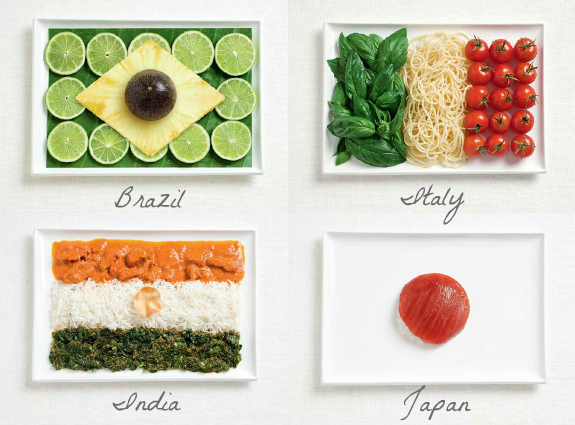 How amazing are these little plates of appetizers designed to look like the Flag of the Nation AND made with food that is part of their culture! We love this idea!! http://tinyurl.com/mx9mrn