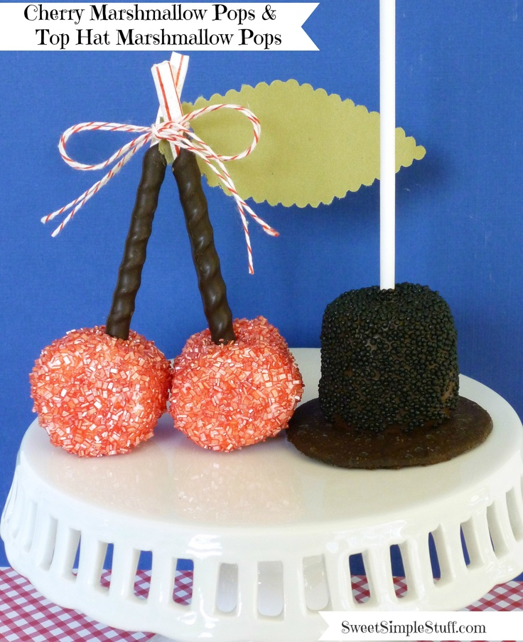 We love this idea to transform marshmallows into cherriies and top hats! Just brilliant!  Photo & Idea:  http://sweetsimplestuff.com/2013/02/14/marshmallow-pops-for-presidents-day/