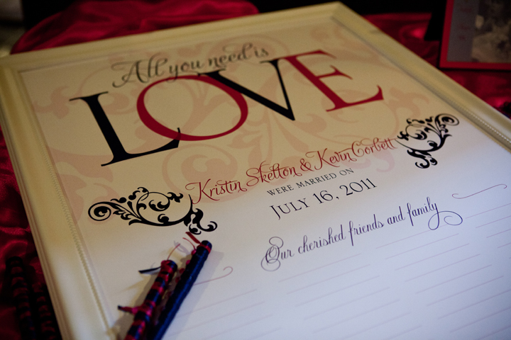 "A customized poster ""guest book"" with our signature ribbon pens."