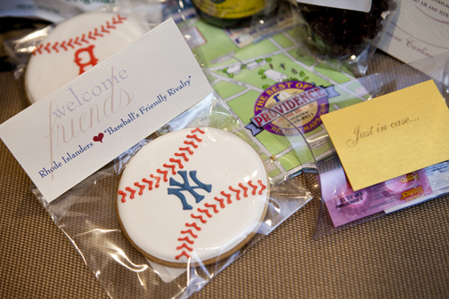 "A Providence, Rhode Island Wedding Welcome Bag with New York Yankees and Boston Red Sox customized cookies, a map of Providence, a small package of Pepto-Bismol, Advil and Aspirin, ""Just in Case"", Del's Lemonade Mix, a handmade local soap,  Coffee Syrup and other goodies welcomed these lucky wedding guests. Photo: Kristin Spencer"