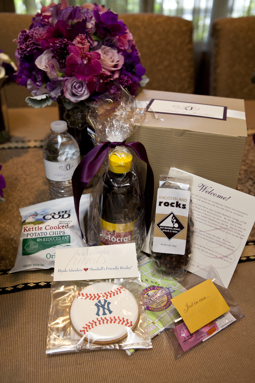 This bride had Welcome Boxes for her Providence, Rhode Island wedding. It included many Rhode Island goodies including Autocrat Coffee Syrup!