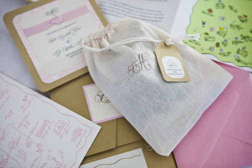 This bride had a simple but elegant fabric bag with a custom rubber stamp with their monogram. Photo: Kristin Spencer