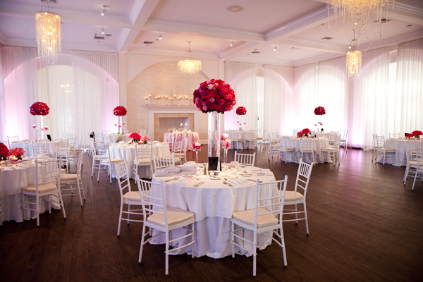 The Salon at Belle Mer in Newport Rhode Island is totally pretty in pink with all shades of pink from blush to bubblegum to fuchsia! Uplighting completes the look!